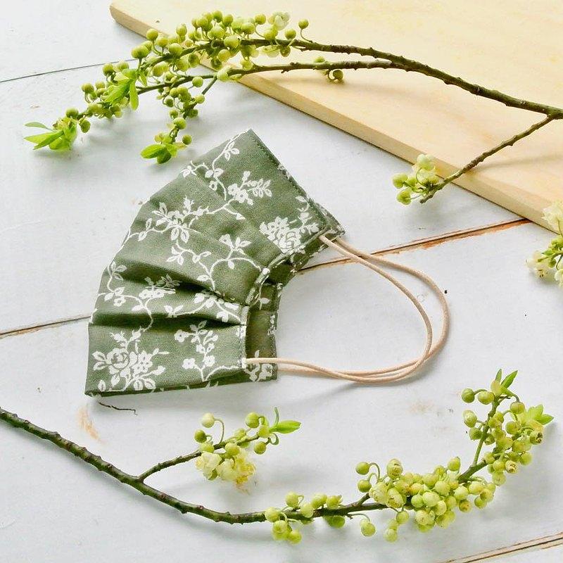 煙燻玫瑰系 深綠色 手工立體口罩 可洗滌 日本製純棉紗布 成人