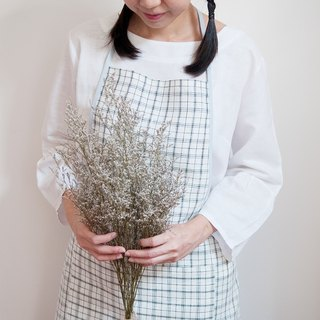 Linen Apron in Japanese Style Plaid with Pastel Blue Edge Handmade Apron Gift