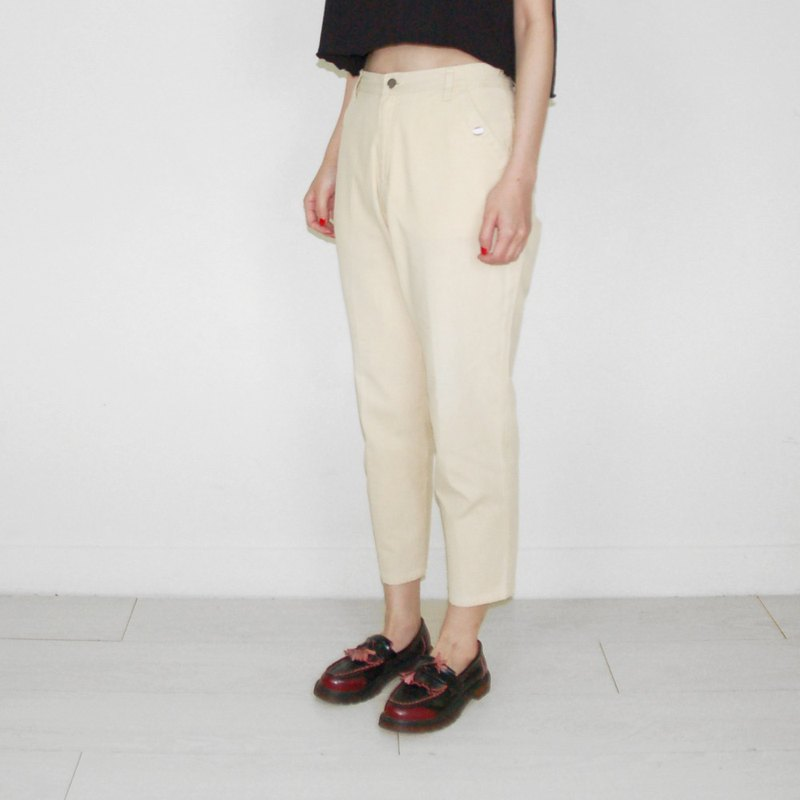 Beige cotton plain ancient high waist trousers BJ1034
