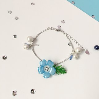 *Haku‧Neko*hand-painted powder blue butterfly flower foliage twisted Cotton Bead 925 Silver Bracelet and chain