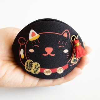 Black Beckoning cat coin purse.lucky charm, talisman. Bring Good luck to owner.