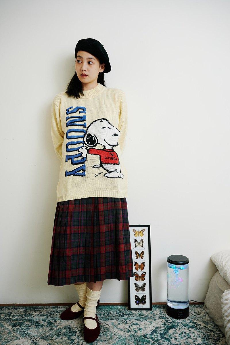 關西腔女子| 純羊毛紅綠格子百褶裙
