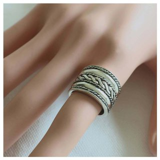 Cigar Band Sterling Silver Ring Boho Celtics Braid Wide Bohemian Women Men gift