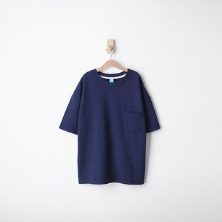 Thick version of loose shoulder version of pure cotton plain face Tie pocket Tee - size Qi