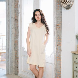 Yellow Line Dress V-Neck
