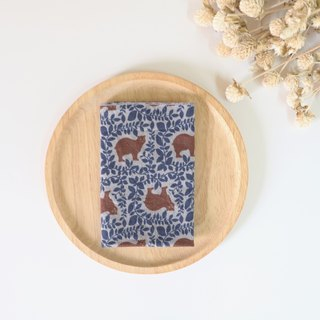 Blue Forest Bear towel / handkerchief