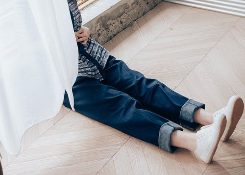 Moonlight blue boy pocket tan pants