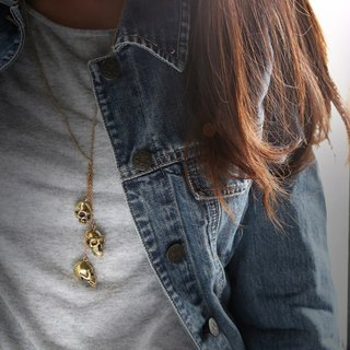 Human Skulls Necklace,Skulls Pendant,Golden Skulls Necklace,Golden Brass Skulls Pendant
