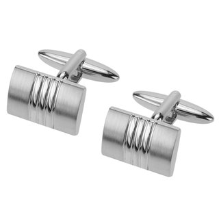 Curved Brush Silver Cufflinks