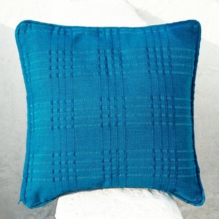 Valentine's Day gift a rapid arrival limited handloom pillow cover / cotton pillow cover / Plaid pillow cover / pillow cover hand-print - hand-woven blue plaid