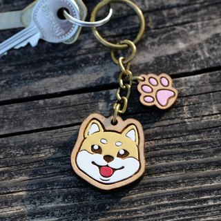 Painted Wooden key ring - Shiba Inu