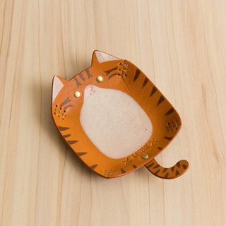 Animal Series - Hand painted leather small cap / jewelry storage / (tabby cat)