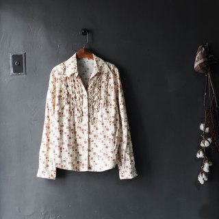 River Water Mountain - Nagasaki beige youth love girl log antique cotton shirt jacket coat