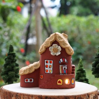 Lighthouse House - Garden Light / Ceramic Lighted House (without wood accessories with hand tree)