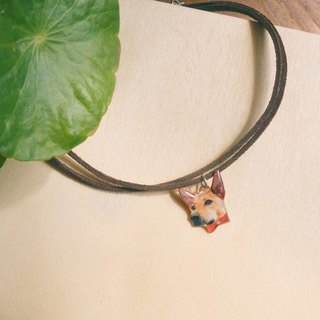 Customized pet cats and dogs/ portrait double suede short neck chain