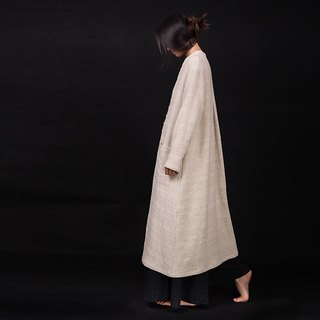 Beige cotton and jacquard casual long coat trench coat