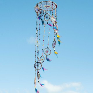 Hand-woven cotton and linen rainbow dream catcher Boho wool line feather dream catcher - paragraph dyeing spiral ladder