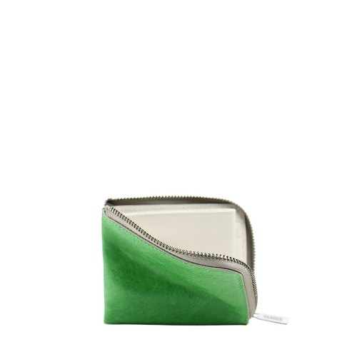 HANDOS color leather short clip - grass-green x Beige