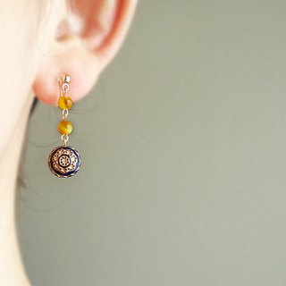 Golden tigereye 虎眼石, antique style, clip on earrings 夾式