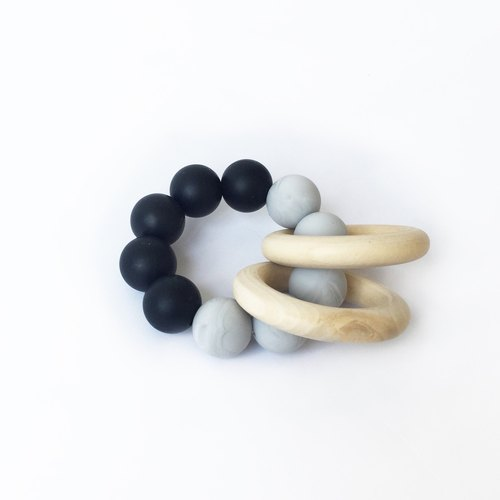 COLOR BLOCK TEETHER - BLACK MARBLE