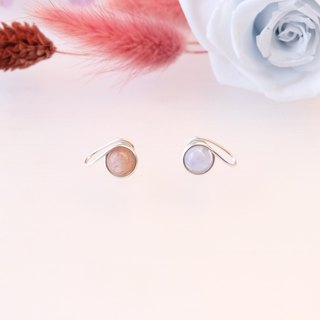 . Romantic two-tone earrings. Blue agate x sun stone light blue x pale pink ear clip / ear pin