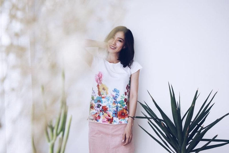 Hollyhock Flower - Handmade Light Cotton Short Sleeve Top