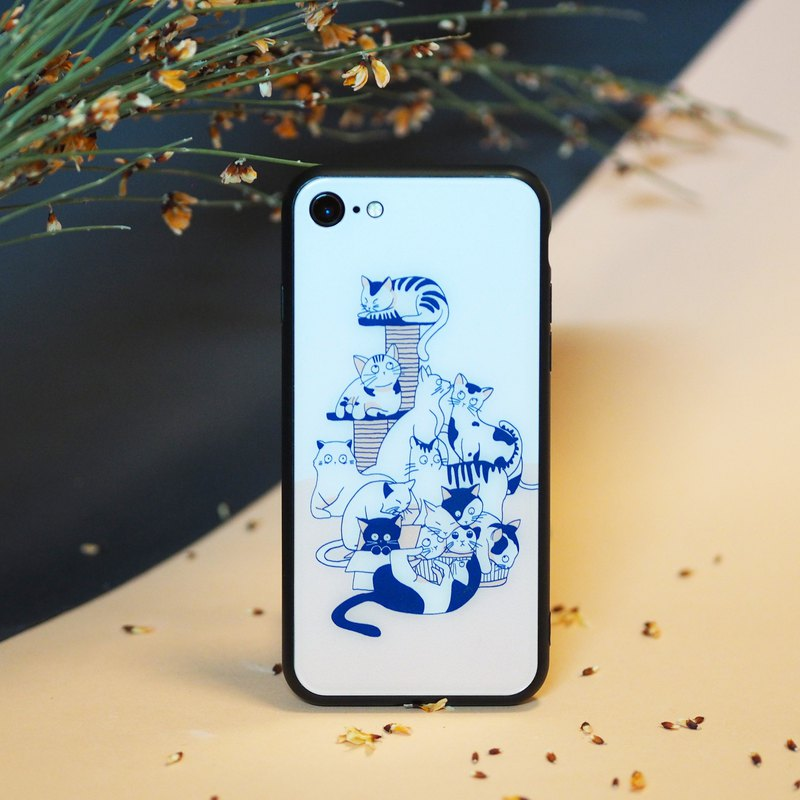 3D Tempered Glass iPhone Case - Cats