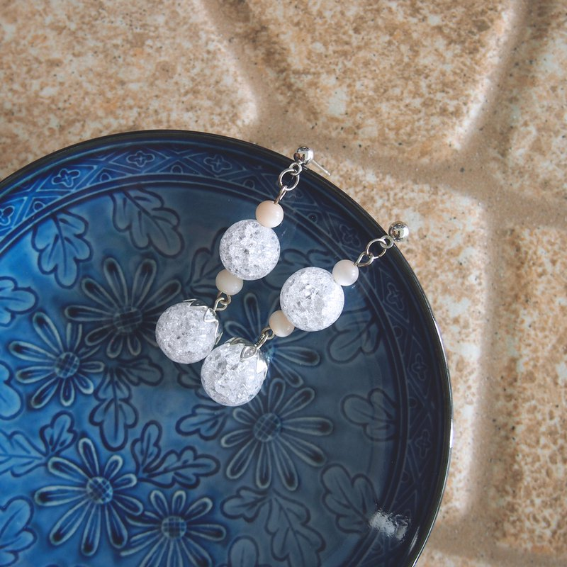 Ice quartz stone bead earrings 01