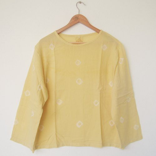 linnil: Yellow dots long sleeve shirt / tie dye