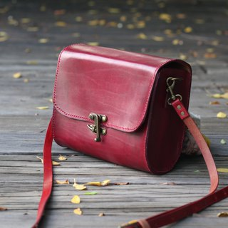Classical crossbody vegetable tanned leather bag - Burgundy
