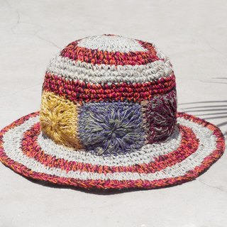 A limited number of hand-woven cotton and linen hat / weaving hat / fisherman hat / straw hat / sun hat / hook hat - bright contrast color tropical forest flowers woven