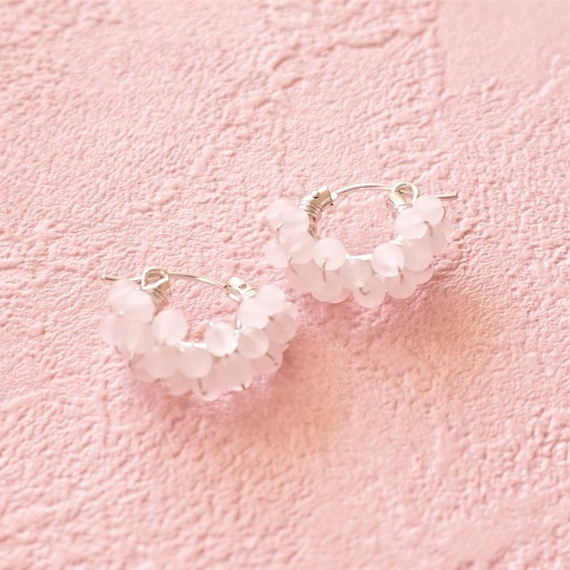 SV925SF*Frost Rose Quartz wrapped pierced earring / earring