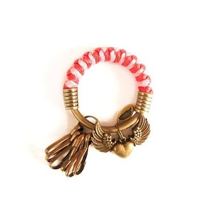 [Na UNA- excellent hand-made] key ring (small) 5.3CM red + pink + wings of love hand-woven wax rope hoop customization