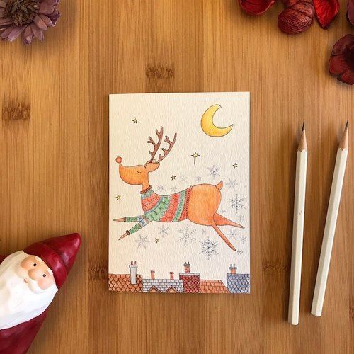 FLYING REINDEER Christmas card hand-painted illustration of environmentally friendly paper British import card C109