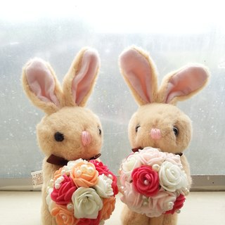 [Wedding] Animal forest bouquet series-Cute rabbit foam rose flower bouquet