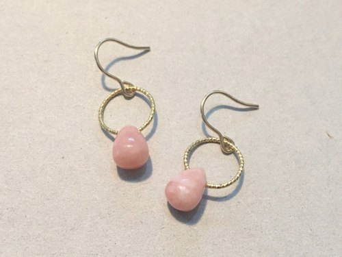 Pink common opal earrings