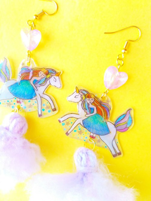Riding unicorn in the starlight earring