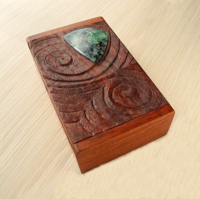 Wooden carved box with fuchsite.