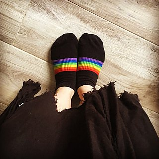 Rainbow Cotton Cushion Sock - Short