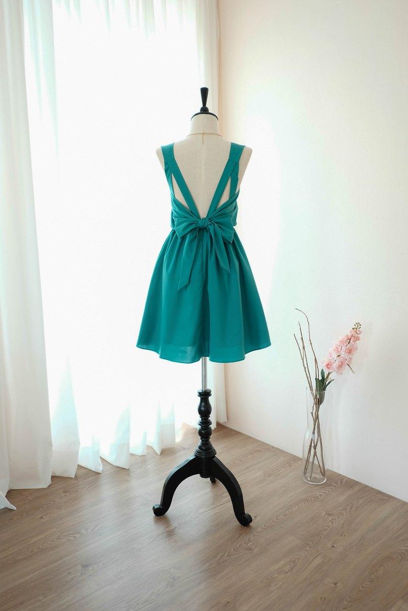 玉綠色連衣裙伴娘禮服露背派對雞尾酒短禮服