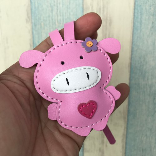 Leatherprince handmade leather Taiwan MIT pink cute pig hand-stitched leather strap small size small size