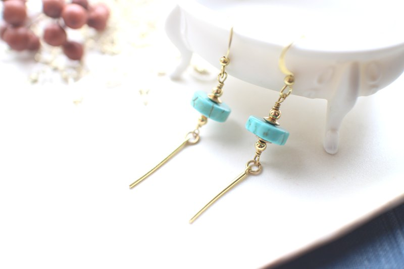 Mint candy-Turquoise brass earrings