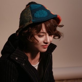 MR.STORE six-color patchwork wool hat detective