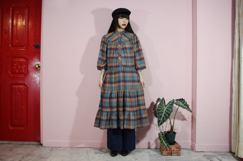 [Vintage dress] blue and green earth color brown forest color check American vintage dress