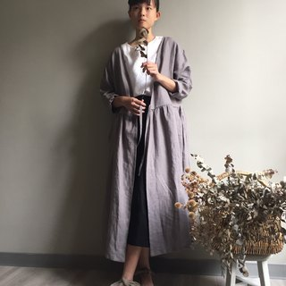 / Painted in the forest / gray long-sleeved smock blouse / dress 100% hemp