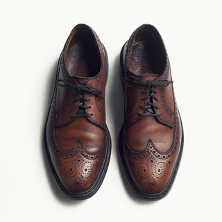 70s 美製雕花長翼紋布呂歇爾皮鞋|Bass Monogram Wingtip Blucher US 9D EUR 42