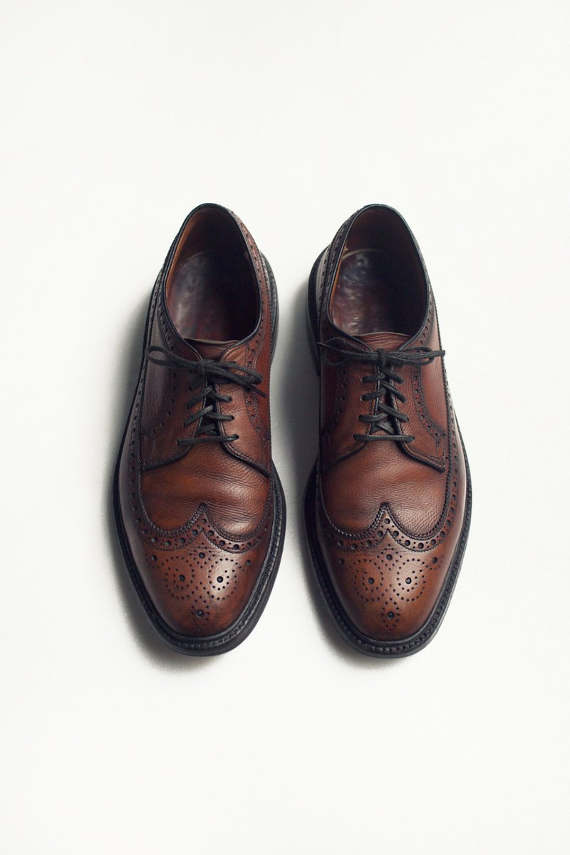 70s American carved long wing pattern Bulvxieer shoes | Bass Monogram Wingtip Blucher US 9D EUR 42