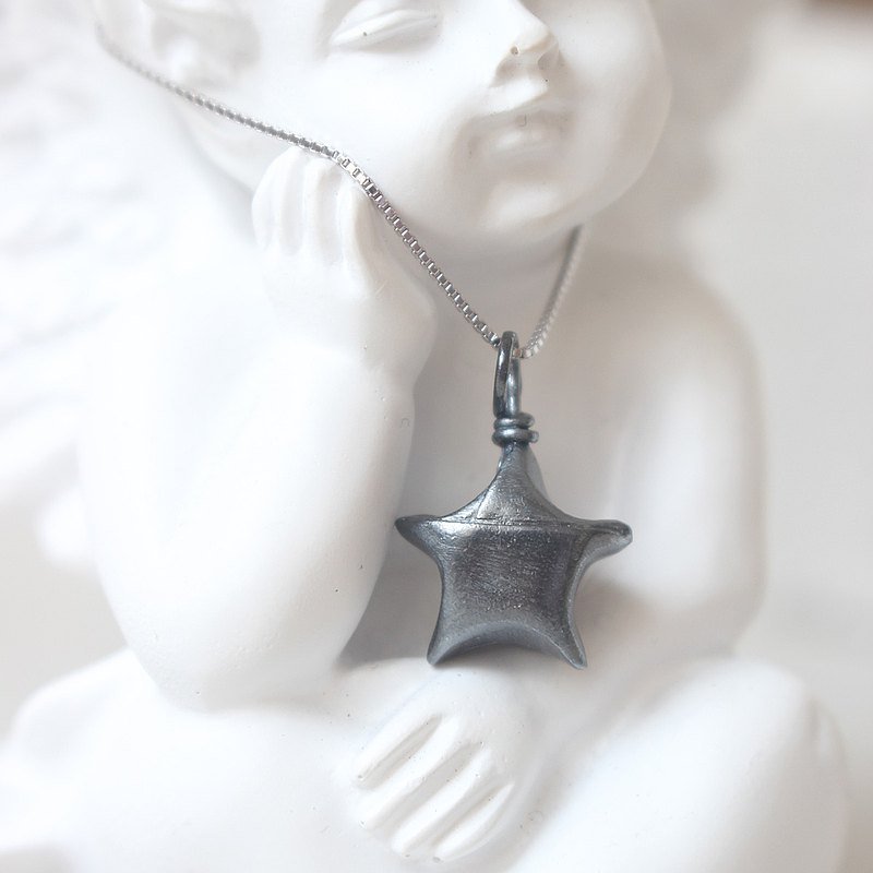 Ancient black silver sterling silver lucky star necklace / folding lucky star necklace (not lettering)