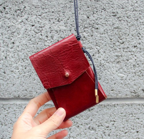 Simple hanging neck leather wallet card holder