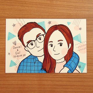 y planet_custom couple/family/friend/memorial _Q portrait (4X6 frame included)